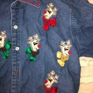 Tops - Ugly Christmas Denim Reindeer Shirt